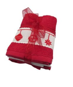 Small Cotton Christmas Bulbs Themed Towels Handmade Cross