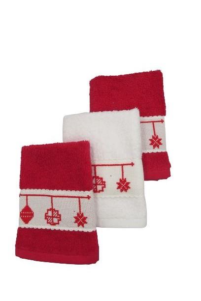Small Cotton Christmas Bulbs Themed Towels Handmade Cross