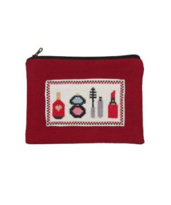 Beauty Themed Red Hand Pouch With Zipper