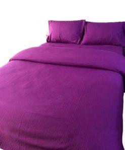 Double Duvet Cover Set - Plain Color Purple