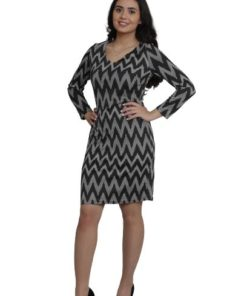 SWEET MISS Long Sleeves Zig Zag Pattern Dress