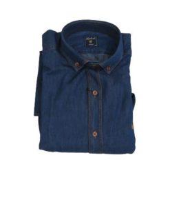 LAMBARDI Men's Slim Fit Long Sleeve Denim Shirt