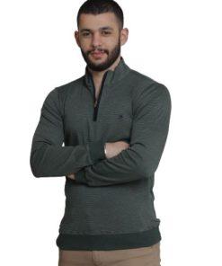LAMBARDI Pullover Cotton Neck Quarter-Zip Fleece Sweatshirt