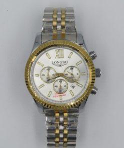 LONGBO Men's Gold Tone Bezel Stailess Steel Chronograph Watch
