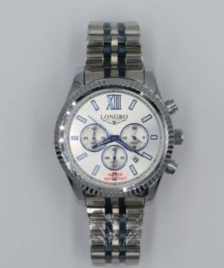 LONGBO Men's Stailess Steel Silver & Blue band Chronograph Watch