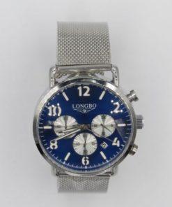 Longbo Men's Blue Dial & Stainless Steel Mesh Bracelet Chronograph Watch