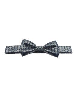 Metallic Silver & Navy Bow Tie