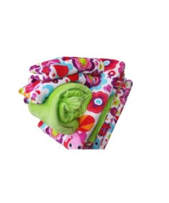Double Duvet Cover Set Soft Mohair Double Face - Elephant Design/Green