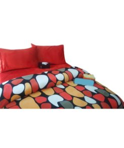 Twin Duvet Cover Set Soft Mohair Double Face - Dotted Red/Yellow/Black