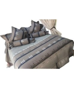 7 Piece Embroidered Comforter Set For Double Bed - Grey and Navy