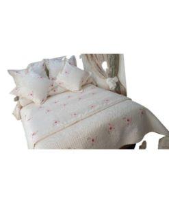 Double Duvet Cover Set- White Printed Roses