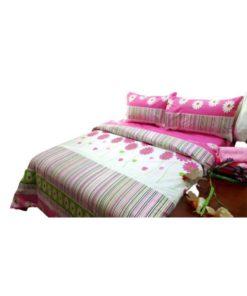 Double Duvet Cover Set - Flowered Design Pink