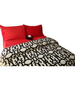 Twin Duvet Cover Set Soft Mohair Double Face - Black And White / Red