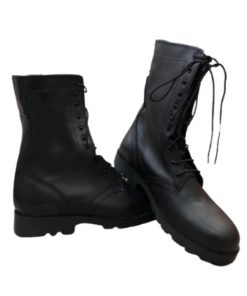 EAGLE PASS Black Leather Combat Mid-High Boots For Men