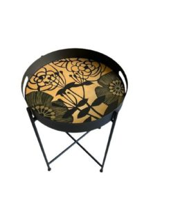 Flower With Stem Design Hand Painted on Wood Round Foldable Table Tray Top With Metal Base