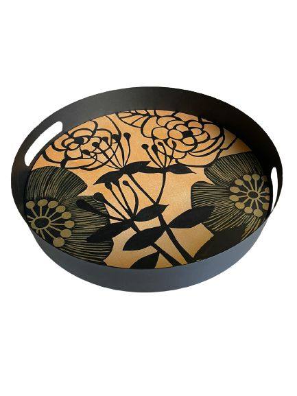 Flower With Stem Design Hand Painted on Wood Round Metal Tray