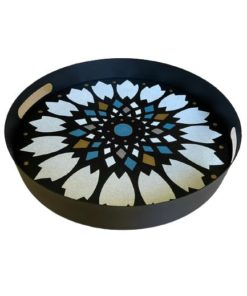 Flower Pattern Hand Painted on Wood Round Metal Tray