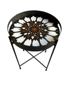 Flower Pattern Hand Painted on Wood Round Tray Top With Metal Base