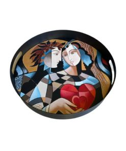 Couple Holding Heart Design Hand Painted on Wood Round Metal Tray