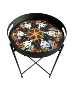Lady Faces Design Hand Painted on Wood Round Foldable Table Tray Top With Metal Base