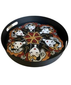 Lady Faces Design Hand Painted on Wood Round Metal Tray