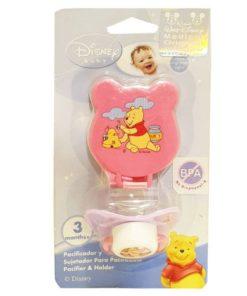 Pink Winnie Pacifier With Holder