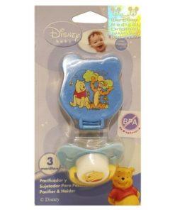 Blue Winnie Pacifier With Holder