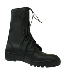 EAGLE PASS Mid-High Combat Shoes Black For Men With Semi Flat Heel