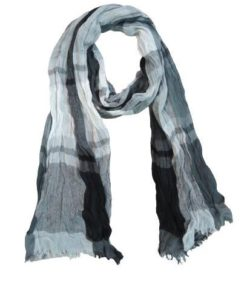 Featherweight Checked Scarf with Fringed Edges