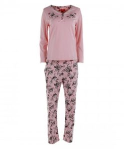 JOANNA Embroidered Henley Long Sleeves Top and Pants Ladies Pajama Set , Light Pink