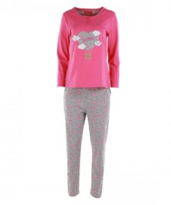 JOANNA Long Sleeves Women's Pyjama Set With Applique Top And Pants With Heart Prints, Dark Pink