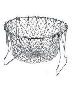 CHEF BASKET Foldable Steam Rinse Strain Fry Basket Net