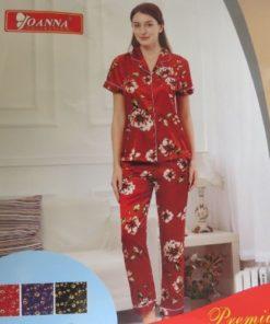 JOANNA Women Satin Short Sleeve Pyjama Set With Floral Print