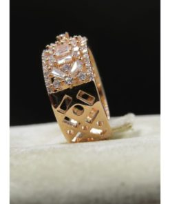 NEOGLORY Wide Ring With Tiny Crystals At The Center