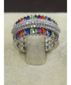 NEOGLORY Wide Engraved Grid Ring With Colored Stones