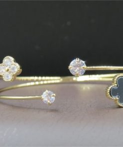 NEOGLORY Bracelet Open Band Bangle With A Crystal And Flower Design