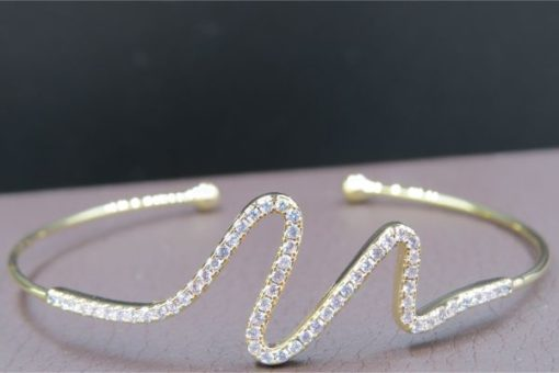 NEOGLORY Open Bangle Zigzag With Crystals