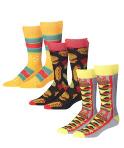 James Fiallo Men 3 Pairs Colorful Patterned Burger Dress Socks