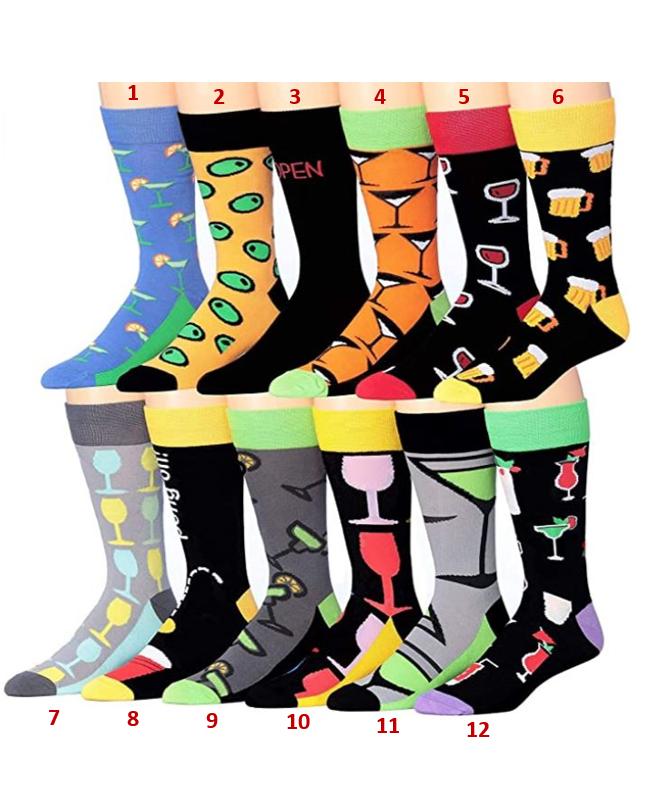 James Fiallo Men's Funny Funky Crazy Novelty Colorful Patterned Dress Socks