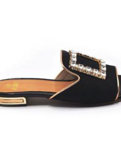 Black Elegant Flat Slippers