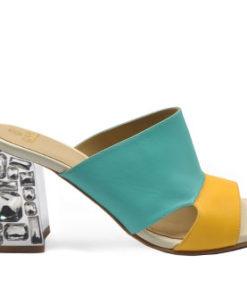 Blue & Yellow Heeled Sandals