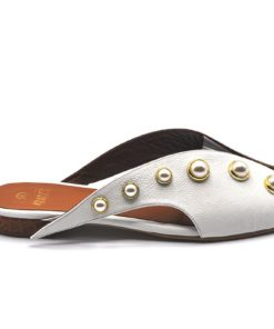 Two Side Color Flat Slippers With Pearl