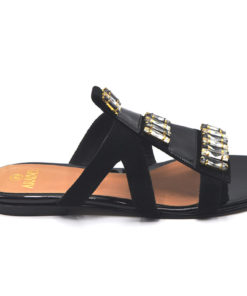 Black Flat Slippers With Stones