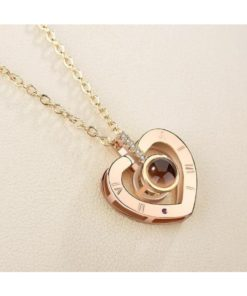 """Pendant Necklace for Women with Projection 100 Languages """"I Love You"""""""
