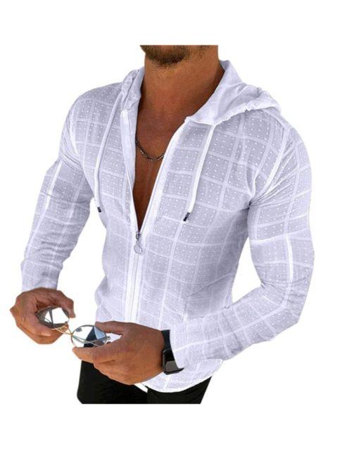 Men's Casual Long Sleeve Hooded Zipper Shirt Slim