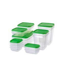 IKEA PRUTA Food Container Set Of 17 Transparent & Green